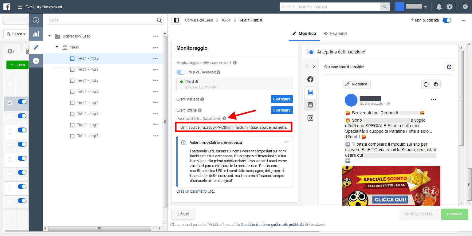 tracciare utm risultati campagna facebook su analytics
